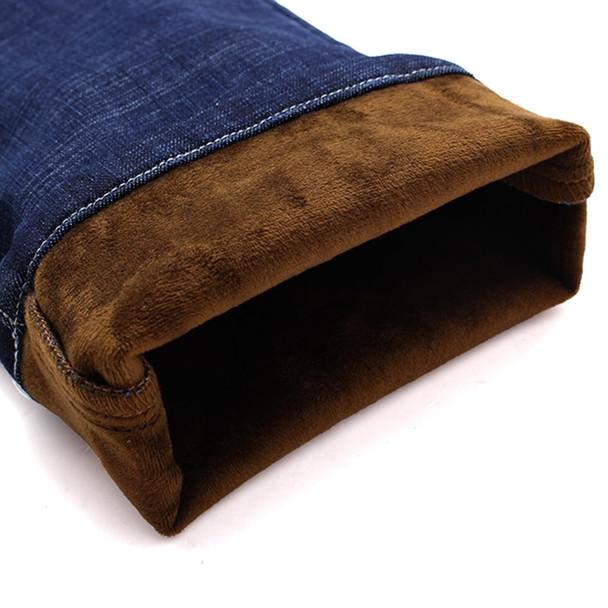 2018 New Men's Winter Brand Jeans Warm Slim Fit Denim Pants Male Balck Blue Thicken Trousers Jeans Big Size Men 38 40 42 44 46