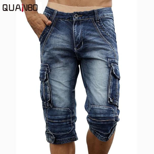 2018 New Fashion Vintage Mens Jeans Calf Lenght Pants Multi-pocket Casual Denim Cargo Pants