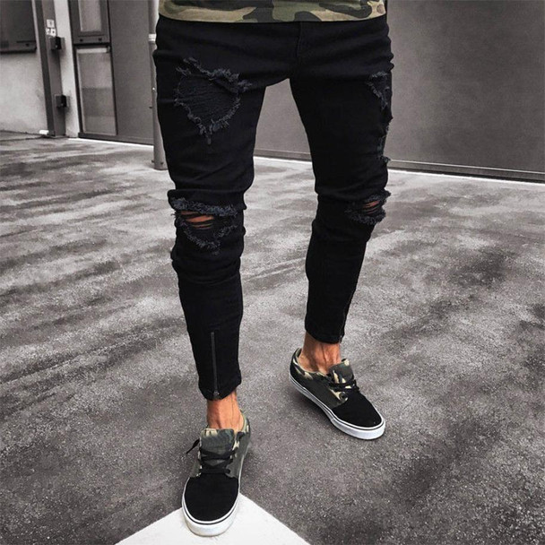 2018 men's new jeans men's hole elastic zipper feet jeans Men Slim Biker  Denim Jeans Skinny Frayed Pants Distressed Rip jeans