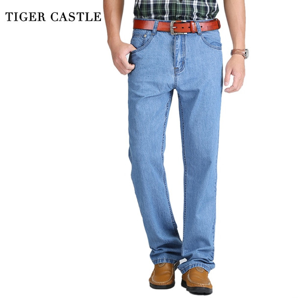2018 New 100% Cotton Summer Thin Cool Men Jeans Baggy Blue Trousers Cotton Casual Male High Waist Washed Denim Pants