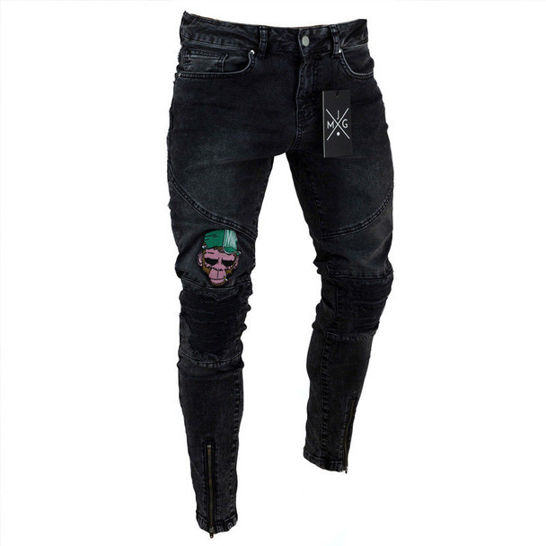 2 Style Men Ripped Skinny Biker Jeans Destroyed Frayed Print Embroidery Slim Fit Denim Pant Jean
