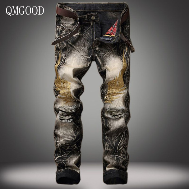 QMGOOD Men Jeans Pants 2017 Spring and Summer New European and American Personality Slim Retro Embroidery Holes Denim Trousers