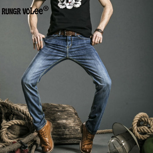 Mens Jeans Blue Color Printed Jeans For Men Ripped Button Jeans Casual Pants High Quality Cotton Denim Jeans P516