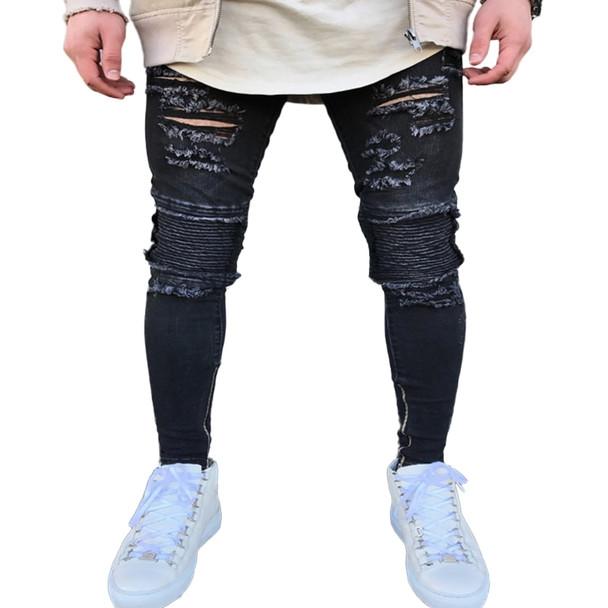 2018 New Arrived Men Jeans Distressed Slim Elastic men Jeans Denim Biker Jeans Hip hop Pants Washed Ripped Jeans