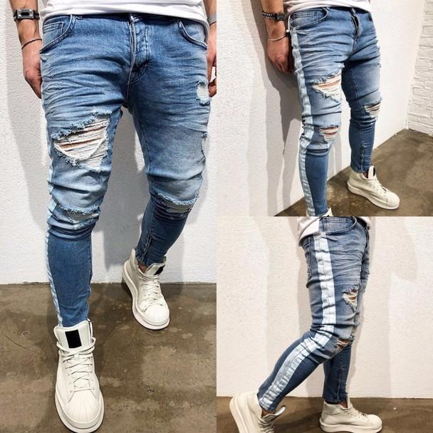 New Ripped Holes Men Jeans Side Striped Blue Jans Men Zipper Hip Hop Jeans Skinny Biker Jeans