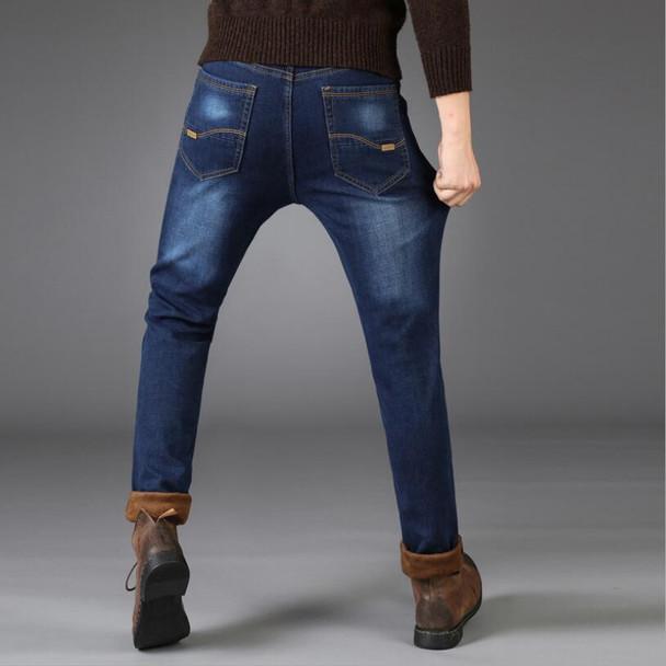 2018 Man Warm Jeans High Quality biker jeans Autumn Winter Jeans Thicken Fleece Men skinny Jeans Long Trouser
