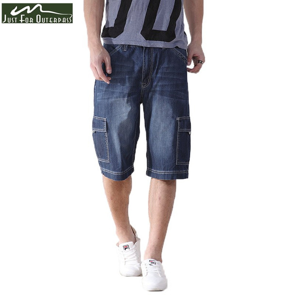 2018 New Brand Short Jeans Men Summer Cotton  Loose Jeans Shorts Casual Straight Knee Length High Quality Cargo Pants Plus Size
