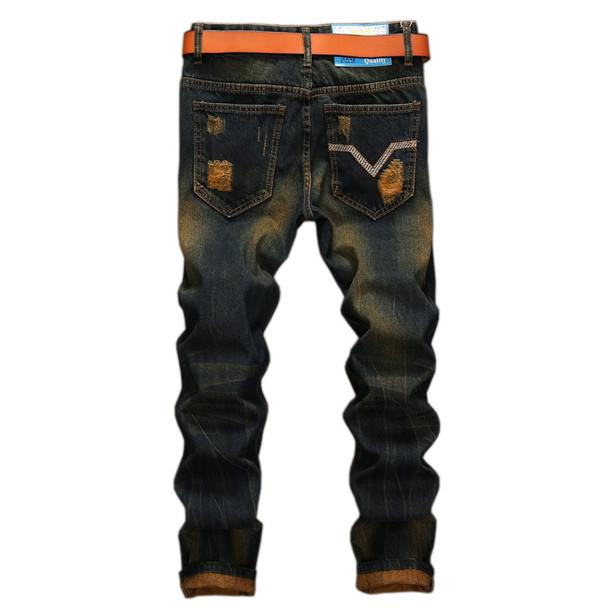 2017 New Color Embroidered Ripped Men Punk Jeans Denim Skinny Jeans Men Classic Hole Rap Hip Hop Skinny Designer Jeans Trousers