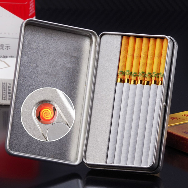Brand New Cigarette case Holder with Turbo Electric Lighter Windproof Electronic Cigarette Lighter USB Recharge Cigarette Box