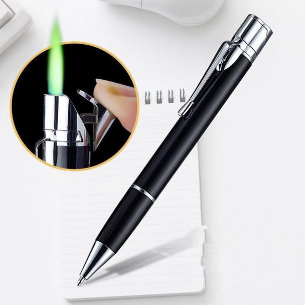 Ball Point Pen Shape Windproof Gas Lighters Adjustable Green Straight Flame Butane Jet Torch Cigar Lighter Gadgets Gifts For Men