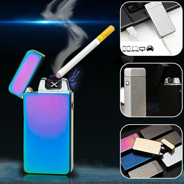 2018 dual  flameless metal  cigarette rechargeable double arc plasma metal lighter