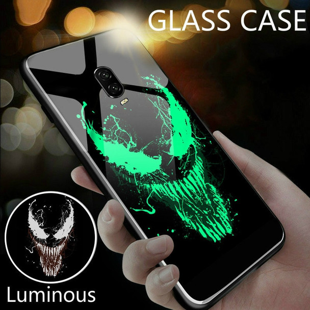 Marvel Venom Deadpool Black Panther Luminous Glass Phone Case For Oneplus 5 5T 6 6T Luxury Silicone Original Back Phone Cover