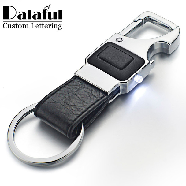 Dalaful Custom Lettering Keychain LED Lights Lamp Beer Opener Bottle Multifunctional Leather Men Car Key Chain Ring Holder K355