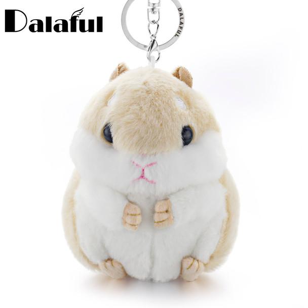 Dalaful Mini Hamster Keyrings Keychains Faux Rabbit Fur Pompom Fluffy Trinkets Car Handbag Pendant Key Chian Ring Holder K356