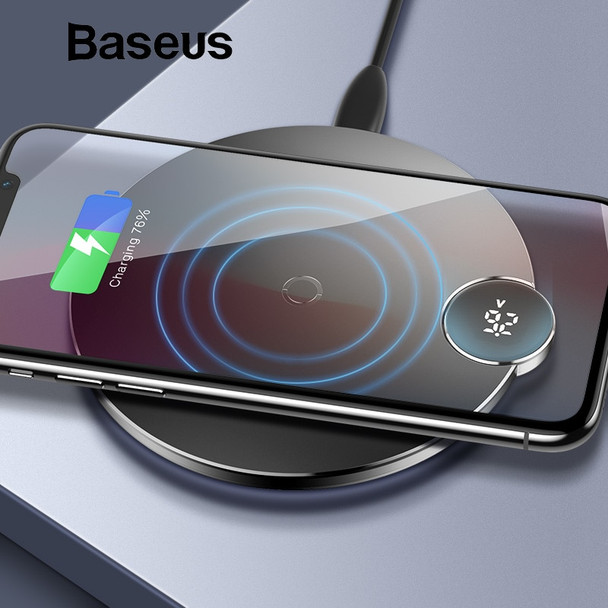 Baseus LCD Digital Display Wireless Charger for iPhone XS Max XR X 8 Qi Wireless Charging Pad for Samsung Galaxy S8 S9+ Note 9