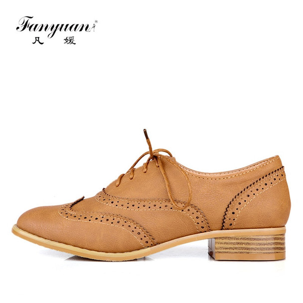 Fanyuan Oxford flats women shoes 2018 concise Pointed toe Sewing Lace-up solid flats comfort lady Dress oxford shoes size 34-43