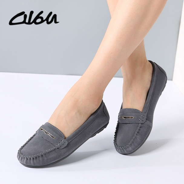 O16U Women ballet flats shoes breathable Genuine leather shoes suede slip-on Ladies moccasins ballerina non-slip penny Loafers