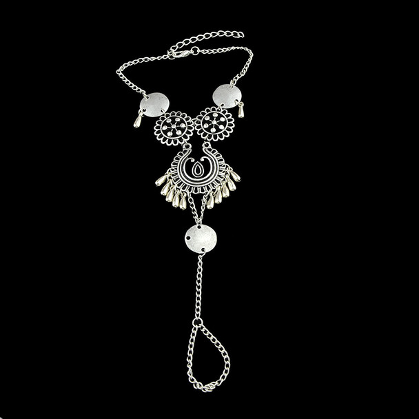 1pc Bohemian Jewelry Antique Silver Color Hollow Flower Chain Anklets Beach Barefoot Sandals Foot Jewelry Boho Chic Anklets