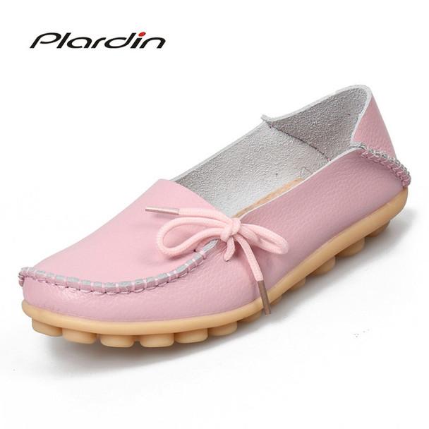 plardin 2018 Genuine Leather Bowtie Women Ballet Flats Summer Casual Women's Shoes Woman Loafers Leather Retro Nurse Mom Shoes