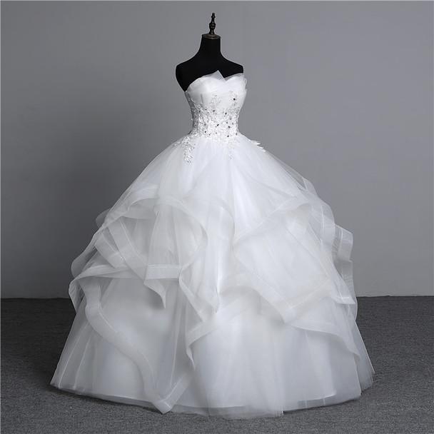 100% real photo Appliques pearls Vintage White Wedding Dresses 2018 Vestidos de Noivas Plus Size Strapless Bridal Ball Gowns