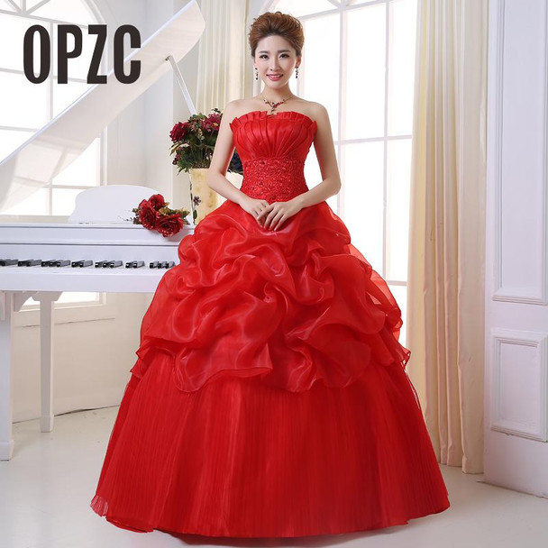 2017 New Arrive Korean Style Red fashion girl crystal princess bridal dress sexy Lace apparel style formal wedding dresses 201