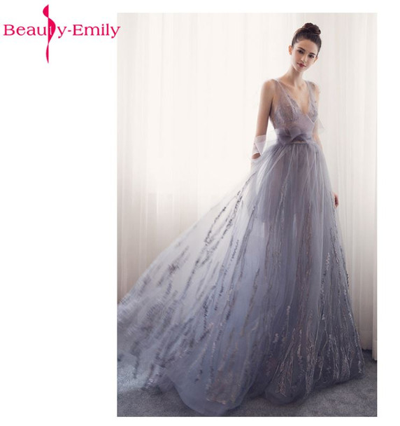Beauty Emily Long Evening Dresses 2018 V-Neck A-line Sleeveless Backless Bride Dresses Formal Occasion Party Prom Dresses