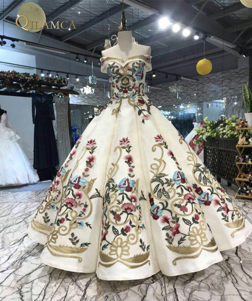 Long Evening Dresses With Lace Embroidery Printed Floral Formal Prom Dress For Women Real Photo Robe De Soiree