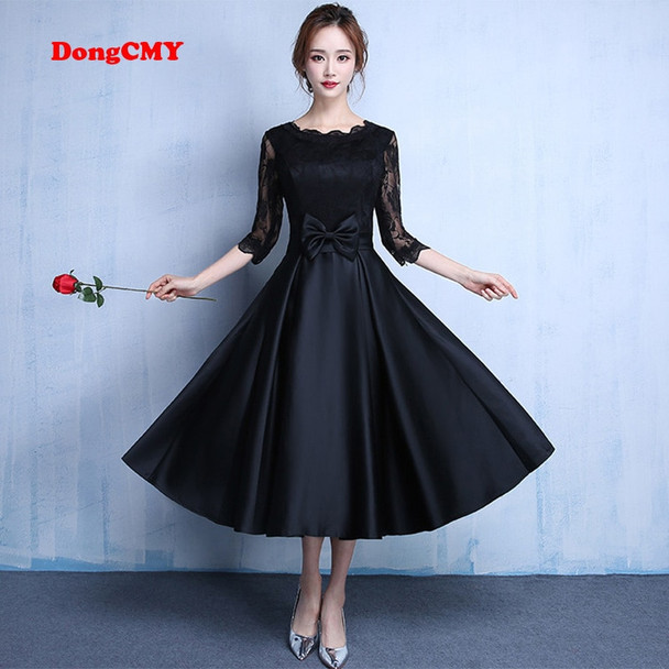 DongCMY 2018 Lace new fashion Black color plus size Robe De Roiree party short evening dresses