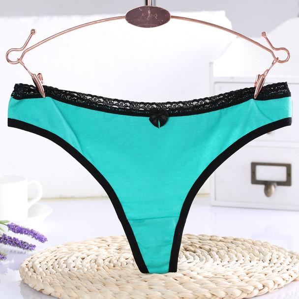 6 Pcs/Set New Low-Waist Briefs Cotton Underpants Intimates Sexy G-String Lace Panties Thongs Underwear 6 Colors