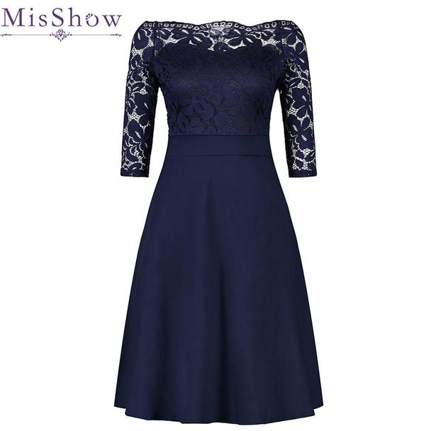 Cheap Navy Blue Cocktail Dresses Elegant Short Little Black Dress Lace Off shoulder Formal Dresses Short Sleeve Satin Prom Gown