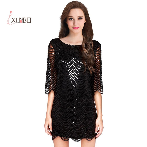 Black 1/2 Long Sleeves Sequined Lace Robe Cocktail Dresses Mini Short Straight Party Evening Gowns Formal Prom Dresses