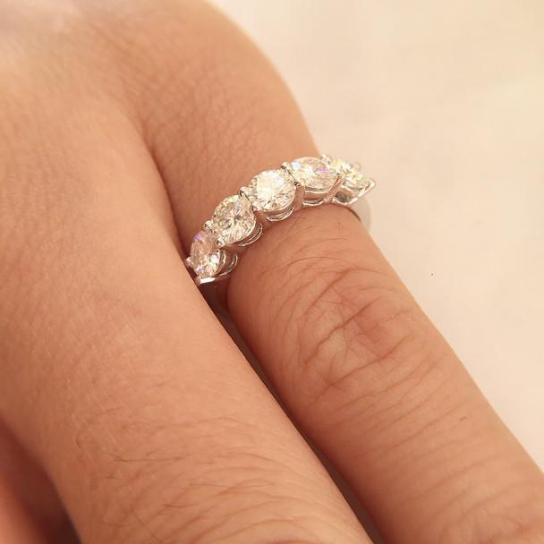 14K White Gold Moissanite Ring 1.5CTW F Color Engagement Ring Test Positive Moissanite Band Diamond Wedding Jewelry For Bride