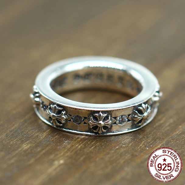 100% S925 sterling silver ring personality fashion retro punk style cross around the zircon styling to send a gift for a lover