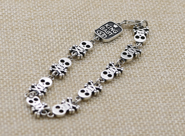 100% S925 sterling silver bracelet personality fashion classic punk youth jewelry pirate skull shape to send a gift 2018 new hot