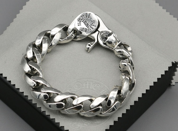 100% S925 sterling silver bracelet personality fashion classic punk youth jewelry domineering skull shape to send a gift of love