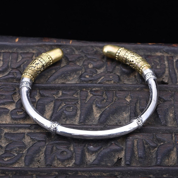 100% s925 sterling silver Bangles personality fashion retro punk style domineering six-word mantra styling to send lover's gift