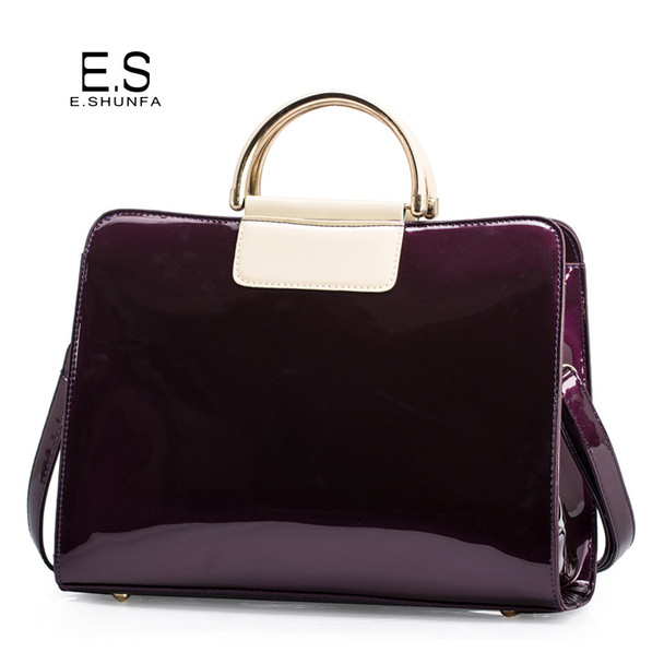 Patent Leather Shoulder Bags For Women 2018 Elegant Fashion Handbag Tote Bag Womens High Quality Saffiano Shoulder Bag Black