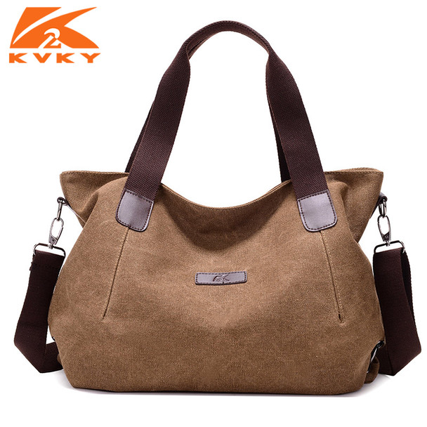 c95f3d80a6b9 KVKY Large Capacity Women's Canvas Handbag Casual Canvas Shoulder Bags  Vintage Crossbody Messenger Bags Female Tote Bags Trapeze