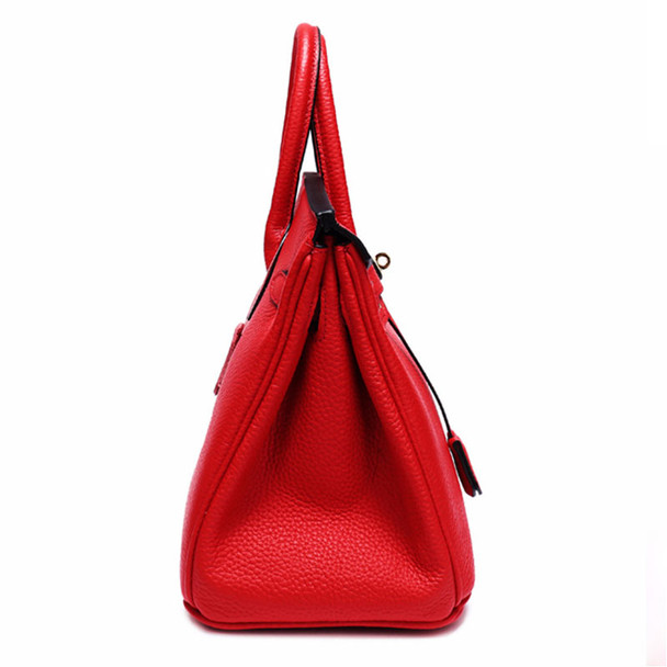 New Fashion 100% Genuine Leather Women Shoulder Bag Fashion Lock Large Casual Tote Cowhide Female Crossbody Bags Women Bag Red