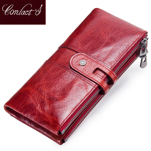 c940e906438a Contact's Women Purses Long Zipper Genuine Leather Ladies Clutch Bags With  Cellphone Holder High Quality Card Holder Wallet