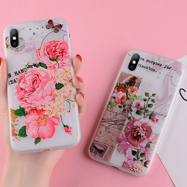 USLION Floral Silicon Case For iPhone XS MAX XR XS X 3D Relief Flower Phone Cases For iPhone 8 7 6 6s Plus 5 5S SE Soft Cover