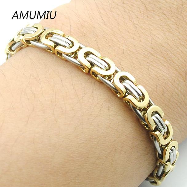 AMUMIU Men's 316L Stainless Steel Bracelet Wristband Hand Chain For Men Jewelry Fashion Byzantine Biker Bicycle Bangle HZB004