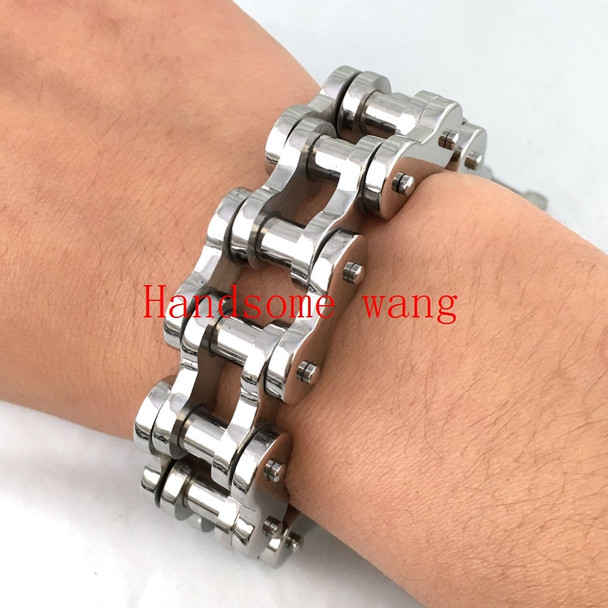 150G High Quality Hot Sell Motorcycle Bracelet 316L Stainless Steel Black Silver Gold Blue Cycling Mens Wrist Jewelry 23CM*18MM