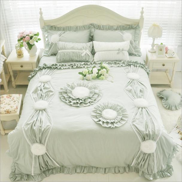 100%Cotton Korean Princess Style Handmade Lace Flowers Fold Lace Design Duvet Cover Bed Sheet Set White/Pink/Green Bedding Set