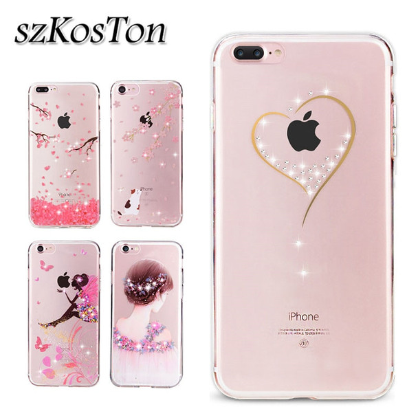 For iPone X 7 8 6 6s Plus Case Bling Glitter Diamond Phone Case Cover For iPhone X 7 8 Plus 5 5S SE Silicone Patterned Case