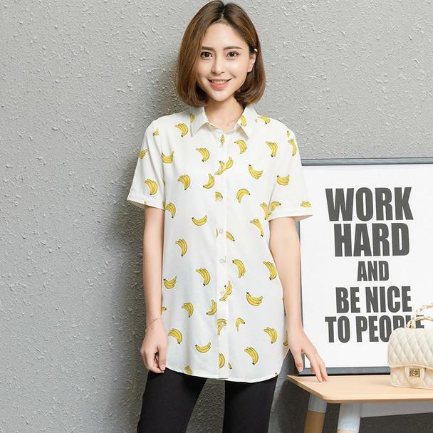 Fashion Women Blouses Short Sleeves 2018 Summer New Plus Size Shirts Office Print Shirt Women Blouse Tops Blusas Female Clothing
