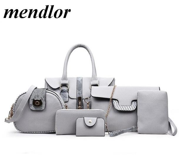 Female Bags Set Fashion Designed Handbag High Quality Pu Leather Shoulder Bag Crossbody Bags Large Capacity Sac 6 Pcs/Set H038