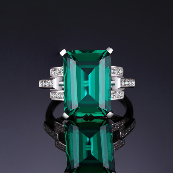 JewelryPalace Luxury Green Nano Russian Emerald Cocktail Blue Sapphire Ring 925 Sterling Silver