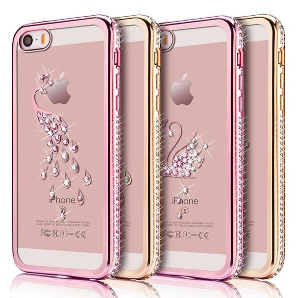 3D Diamond Cute Swan Peacock Glitter Rhinestone Case For iPhone 7 6 6s 8 Plus X Transparent TPU Silicone Cases Cover capa