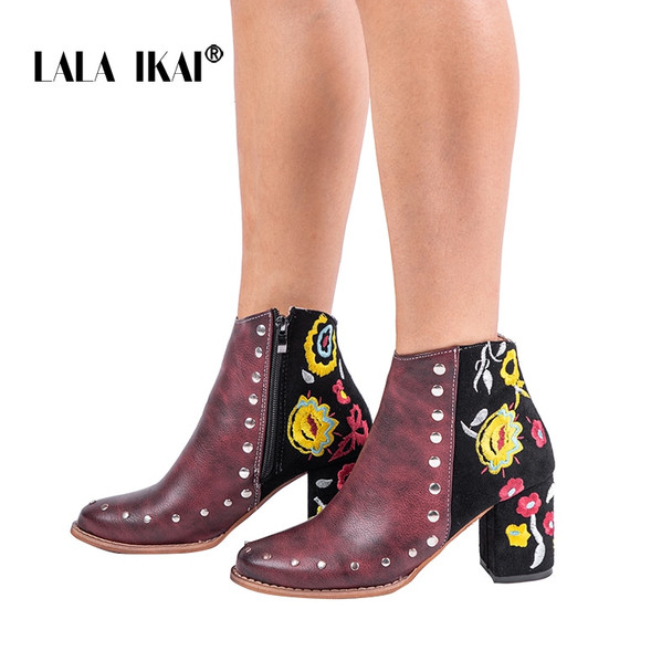 LALA IKAI Women Embroider High Ankle Shoes Boots Wine Red Flock PU Leather Plus Size Zipper Rivet Flower Shoes 014C2292 -49